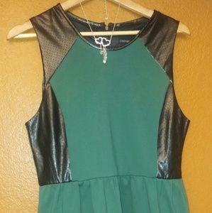 Dark Green Geometric Sleeveless Dress